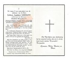 D 788. ISIDOOR LEEMANS  Wed. E. Billzen - °GELINDEN 1883 / +WELLEN 1960 - Images Religieuses