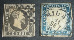 Sardaigne N°1 Et 12 Oblitérés 1851 Et 1855 - Sardinia