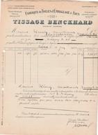 Facture 1920 / Tissage BENCKARD / Toiles à Houblon (bière) Lin Chanvre / 68 Colmar - France