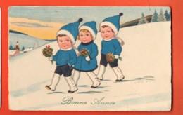 EPA-15 Bonne Année Illustrateur, Enfants Marchant Dans La Neige.  Circulé 1929 Vallée De Joux - Nouvel An