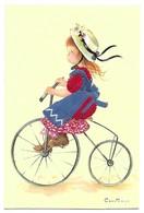 Carte Brodée Jeune Fille Faisant Du Vélo Edition Prat Espagne - Brodées