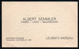 C6134 - TOP  Werdau Leubnitz - Albert Semmler - Visitenkarte - Visitenkarten