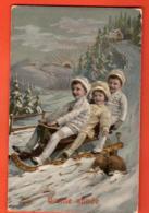 EPA-17 Bonne Année Enfants Faisant De La Luge. Circulé Vallée De Joux - Nouvel An