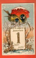 EPA-19 Bonne Année 1 Janvier, Oiseaux Sous Un Parapluie, Regenschirm.Gaufré, Geprägt, Circulé Charbonnières - New Year