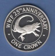 WWF Silber-Gedenkmünze Turks&Caicos Islands 1988 1 Crown, 28g Ag925, PP  - Münzen & Banknoten