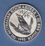 Australien 1992 Silber-Anlagemünze Kookaburra 1 Unze Ag999 - Münzen