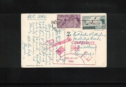 Bermuda 1953 Interesting Airmail Postcard With Bermuda Conference Postmark - Bermuda