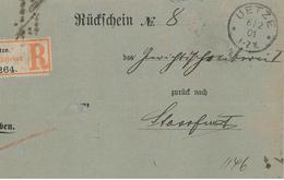 Rückschein No 8 Uetze 264 R-Brief 1901 Nach Stassfurt  Einschreiben - Allemagne