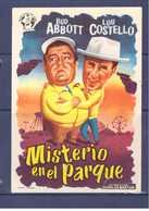 Programa Cine. Misterio En El Parque. Bud Abbott. Lou Costello. EEUU. 1956. Sello Cine Alcazar. Tanger. Marruecos. - Manifesti & Poster