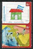 UPAEP AMERICA, EDUCACION - ANALFABETISMO. ARGENTINA AÑO 2002, GOTTIG JALIL GJ 3189 / 3190 SE-TENANT MNH NUEVO - LILHU - Philatélie & Monnaies