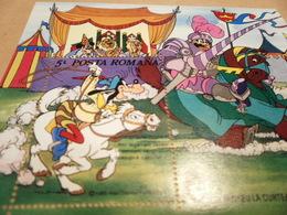 Miniature Sheet Romania Disney 1985 King Arthur Twain Cartoons - 1948-.... Republics