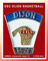 SUPER PIN'S BASKETBALL-DIJON : USC ZAMAC Cloisonné Club De BASKET De DIJON (21), Format 2,5X2,3cm - Basketball
