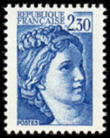 France Sabine De Gandon N° 2156 A ** Variété Sans Bandes De Phosphore Du 2.30 Bleu - 1977-81 Sabine Of Gandon