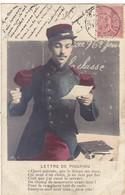 MILITARIA.. CPA. LA LETTRE DE PIOUPIOU.  TEXTE DU 12 MARS 1905 - Personnages