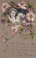 AK Liebesgruss - 2 Frauen Mit Blumendeko - Künstlerkarte - Reliefdruck - Ca. 1900 (41623) - Frauen
