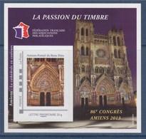 = Bloc 86ème Congrès 2013 FFAP N°7 Portail Du Beau Dieu, Cathédrale D'Amiens Timbre Tvp Prioritaire -20g Autocollant - FFAP