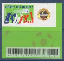 = Timbre Sport Football Merci Les Bleus Type Autocollant  0.53€ De Feuillet Neuf N°3936B Coin Feuillet Avec Code Barre - Personalisiert