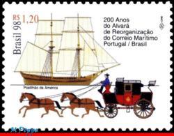 Ref. BR-2691 BRAZIL 1998 POST, MAIL MARITIME, 200 YEARS,, HORSES, SHIPS, TRANSPORT, MI# 2904, MNH 1V Sc# 2691 - Brésil