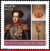 Ref. BR-2692 BRAZIL 1998 HISTORY, DOM PEDRO I, KING BRAZIL, & PORTUGAL, CROWN, CEDAR, MI# 2906, MNH 1V Sc# 2692 - Neufs