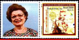 Ref. BR-2739-3 BRAZIL 2000 HISTORY, DISCOVERY OF BRAZIL,SHIPS, , BOATS, MI# 3006, PERSONALIZED MNH 1V Sc# 2739 - History