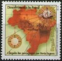 Ref. BR-2740G BRAZIL 2000 MAPS, DISCOVERY OF BRAZIL, SHIPS - MI# 3013 - MINT MNH 1V Sc# 2740G - Brésil