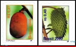 Ref. BR-2762-63 BRAZIL 2000 - CAPUACU AND SOURSOP,, NATURE, MI# 3057-58, MNH, FRUITS 2V Sc# 2762-2763 - Unused Stamps