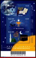 Ref. BR-2779 BRAZIL 2001 NEW YEAR, NEW MILLENNIUM, JEWISH,, CHRISTIAN, ISLAMIC, MI# B114, MNH 3V Sc# 2779 - Blocks & Sheetlets