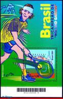 Ref. BR-2805 BRAZIL 2001 SPORTS, GUSTAVO KUERTEN, TENNIS,, FAMOUS PEOPLE, MI# B116, S/S MNH 1V Sc# 2805 - Brésil