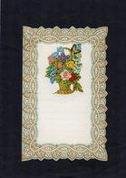 VP15.087 - Lettre Vierge Papier Gaufré Double Page Avec Découpi Panier à Fleurs - Fleurs