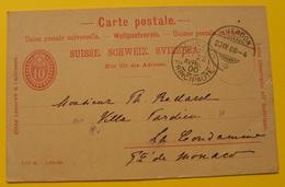 SUISSE - YVERDON / 1900 ENTIER POSTAL POUR MONACO (ref LE1241) - Enteros Postales