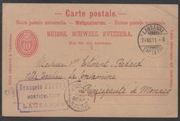 SUISSE - LAUSANNE /1901 ENTIER POSTAL POUR MONACO (ref 3958) - Enteros Postales