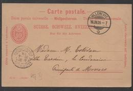 SUISSE - VILLENEUVE /1905 ENTIER POSTAL POUR MONACO (ref 3925) - Stamped Stationery
