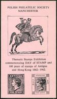 GB UK 1962 Manchester Polish Society Philatelic Exhibition 100th Antigua & Hong Kong Centenary Vignette Poster Stamp - Briefmarken Auf Briefmarken