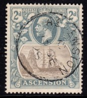 Ascension 1924 Badge With Ship 2d Used  SG 13 - Ascension