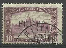 Fiume - 1918 Parliament Overprint 10k Used   Sas 21 Sc 20 - 8. WW I Occupation