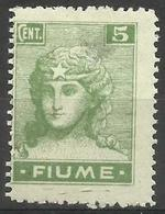 Fiume - 1919 Italia (1st Print) 5c MH *  Mi 34   Sc 29a - 8. WW I Occupation