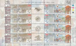 Indonesia, 1999, 125 Years Universal Postal Union, Sheetlet Of 4x Sets, MNH** - Tailandia