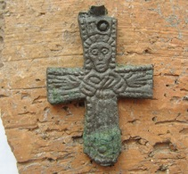 Ancient Vikings Bronze Cross 9-11 Century - Archeologie