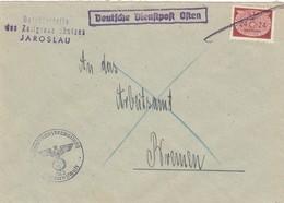GG: Dienst: Brief Portogerecht Zollgrenzschutz Jaroslau Nach Bremen - Occupation 1938-45