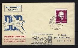 DDR Lufthansa-Erstflug 2.5.1958 Karl-Marx-Stadt - Berlin Mit Mi-Nr. 627 - [6] República Democrática