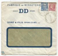 GANDON 4FR50 +MAZELIN 1FR50 PERFORE DD LETTRE ENTETE DD BONNETERIE FONTAINE AUBE 1947 - Perfins