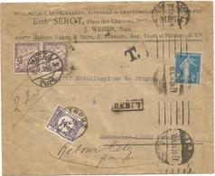 SEMEUSE 25C BLEU LETTRE METZ 1925 POUR BELGIQUE TAXE 1FR + REBUT  + TAXE 50C PAIRE CACHET ALLEMAND METZ PORT - Postmark Collection (Covers)