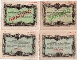 LOTTO 4 BIGLIETTI INGRESSO MINISTERO PER I BENI CULTURALI E AMBIENTALI-1974 - Biglietti D'ingresso