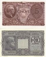 ITALY-LOTTO 5,10 LIRE -UNC-FDS-COPY-RIPRODUZIONE - [ 2] 1946-… : Repubblica