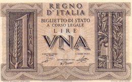 ITALIA-BANCONOTA REGNO-1 LIRA -1939 P-26-UNC - [ 1] …-1946 : Koninkrijk