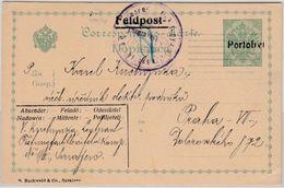 """Österreich - Feldpost, 5 H. Überdruck """"Portofrei"""", GA-Karte Sarajevo - Prag 1914 - 1850-1918 Empire"""