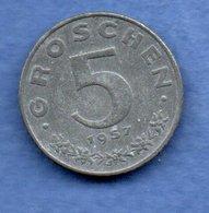 Autriche  -  5 Groschen 1957   -  Km # 2875  -  état  SUP - Autriche