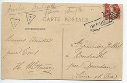 Carte Postale Taxée Avec Semeuse 138 - 1906-38 Semeuse Camée