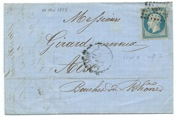 N° 14 BLEU NAPOLEON SUR LETTRE / LYON POUR AIX / 11 MAI 1858 / BELLE TEINTE - 1849-1876: Classic Period