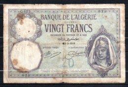 624-Algérie Billet De 20 Francs 1919 C423  RARE2 Déchiré - Algeria